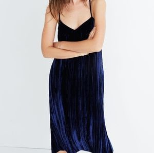 Madewell crushed velvet slip dress